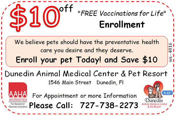 Dog Cat Free Vaccinations For Life Enrollment Coupon - Dunedin Animal Medical Center